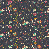 Bohemian hand drawn flowers, seamless pattern Royalty Free Stock Photos