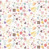 Bohemian hand drawn flowers, seamlss pattern Stock Photography