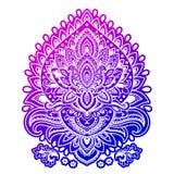 Bohemian Indian Mandala print. Vintage Henna tattoo style Stock Images