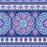 Bohemian Indian Mandala towel print. Vintage Henna tattoo style Stock Photography