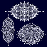 Bohemian Indian Mandala towel print. Vintage Henna tattoo style Royalty Free Stock Photo