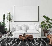 Bohemian interior with frame mock-up. 3d render Stock Illustration