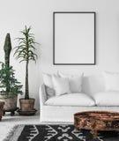 Bohemian interior with frame mock-up. 3d render Royalty Free Illustration