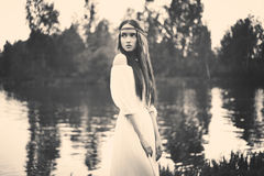 Bohemian lady at river Stock Photos