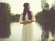 Bohemian lady at river Royalty Free Stock Photos