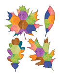 Bohemian Leaves. A set of colorful leaves with a bohemian patchwork pattern Stock Photo