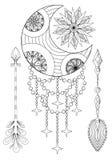 Bohemian Moon and Sun with Arrows. Hand drawn Zentangle Moon, Su Royalty Free Stock Photos