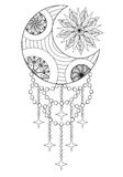 Bohemian Moon and Sun, Hand drawn Zentangle Moon and Sun for adu Royalty Free Stock Photography