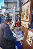 Bohemian painters working in Paris in Montmartre district. royalty free stock image