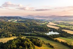 Bohemian Paradise from above. Aerial view of the morning Bohemian Paradise stock photos