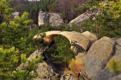 Bohemian Paradise. Bohemian Paradise - rock formation Hawk kisses. Prihrazske rocks near Prihrazy - Czech Republic royalty free stock image
