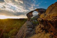 Bohemian Paradise. Bohemian Paradise - rock formation Hawk kisses. Prihrazske rocks near Prihrazy - Czech Republic stock photos