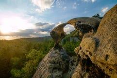 Bohemian Paradise. Bohemian Paradise - rock formation Hawk kisses. Prihrazske rocks near Prihrazy - Czech Republic royalty free stock photos