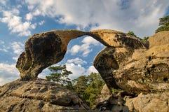 Bohemian Paradise. Bohemian Paradise - rock formation Hawk kisses. Prihrazske rocks near Prihrazy - Czech Republic Royalty Free Stock Images