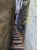 Bohemian Paradise - Rocks Stair - Narrow Path. Narrow Parh - Mousehole - in rocks city in Bohemian Paradise. Bohemian Paradise is the Natural Protected Area. It stock photography