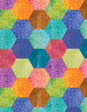 Bohemian Patchwork Background. A colorful hexagon patchwork background with a floral pattern Royalty Free Stock Photo