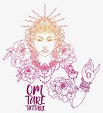 Poster with buddhist mantra `om tare tuttare` and beautiful female goddess. Bohemian royal asian woman in crown and peonies flowers, poster with buddhist mantra Royalty Free Stock Photo