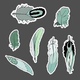 Bohemian set of feathers stickers. royalty free illustration