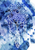 Bohemian style background with dream catcher illustration stock illustration