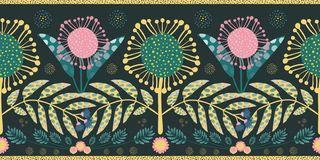 Bohemian style border with pink and teal flowers and leaves. Seamless geometric vector design with gold edging on black. Background. Perfect for stationery royalty free illustration