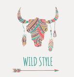 Bohemian style Bull Skull poster Royalty Free Stock Photography