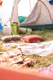 Bohemian style campsite at festival. On a sunny day stock photo