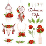 Bohemian style collection with poppies. Stock Photo