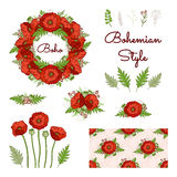 Bohemian style collection with poppies. Royalty Free Stock Photos