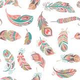 Bohemian style feathers seamless pattern Stock Image