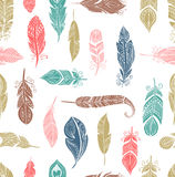 Bohemian style feathers seamless pattern Royalty Free Stock Images
