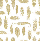 Bohemian style feathers seamless pattern Royalty Free Stock Image