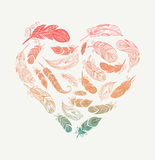 Bohemian style poster with gypsy colorful feathers, arranged in heart. Design vector illustration
