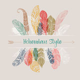 Bohemian style poster with gypsy colorful feathers. Bohemian style poster with gypsy and ethnic colorful feathers stock illustration