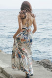 Bohemian sulla passerella della spiaggia Immagine Stock