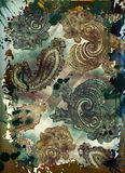 Bohemian tapestry motif. Grunge bohemian paisley tapestry with rich colors and embossed texture Stock Photo