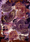 Bohemian tapestry motif. Grunge bohemian paisley tapestry with rich colors and embossed texture Stock Photos