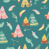 Bohemian tents and birds, in a seamless pattern design. Perfect to use for stationery print or fabric, for bed sheets, labels, towels or clothing. It can also stock illustration