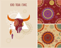 Bohemian, Tribal, Ethnic background with bull Royalty Free Stock Photos