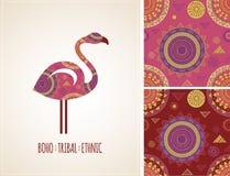 Bohemian, Tribal, Ethnic background with flamingo Stock Photos