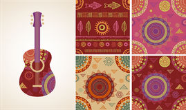 Bohemian, Tribal, Ethnic background with guitar Stock Image