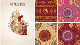 Bohemian, Tribal, Ethnic background with heart Royalty Free Stock Photography