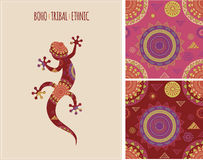 Bohemian, Tribal, Ethnic background with lizard Stock Images