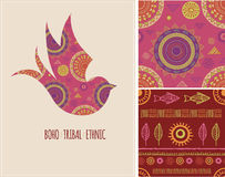 Bohemian, Tribal, Ethnic background with swallow Stock Image