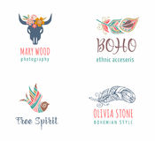 Bohemian, tribal, ethnic icon set with feather and bird Stock Photo