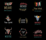 Bohemian, tribal, ethnic icon set with feather Stock Images