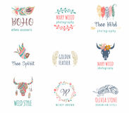 Bohemian, tribal, ethnic icon set with feather, bird and wreath Stock Photos
