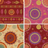 Bohemian, Tribal, Ethnic seamless patterns and Stock Image