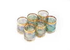 Bohemian vodka glasses. Bohemian crystal vodka grasses isolated on white stock photos