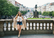 Bohemian woman standing in the historical center of Prague Stock Images