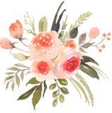 Bohemisk bukett för blomma med rosor vektor illustrationer
